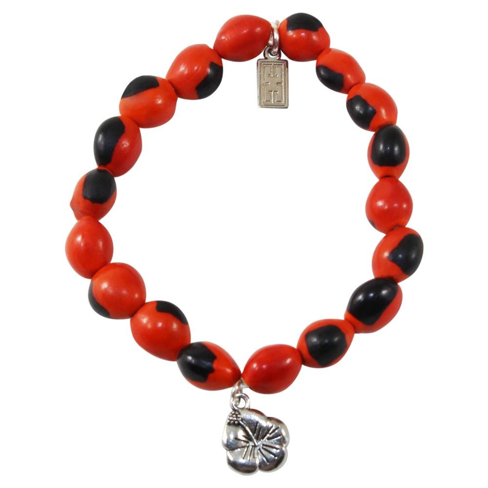 Hibiscus Charm Stretchy Bracelet w/Meaningful Good Luck, Prosperity, Love Huayruro Seeds - EvelynBrooksDesigns