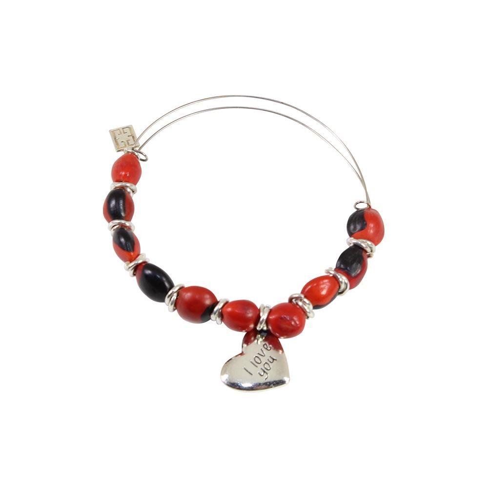 I Love You Mom Gift Adjustable Bangle/Bracelet for Women w/Huayruro Red Seed Beads - EvelynBrooksDesigns