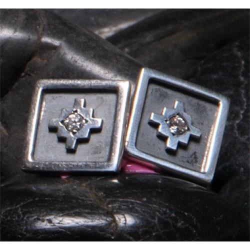 "Inka Cross ""Chakana"" Peruvian Inspired Square Sterling Silver Cufflinks - EvelynBrooksDesigns"