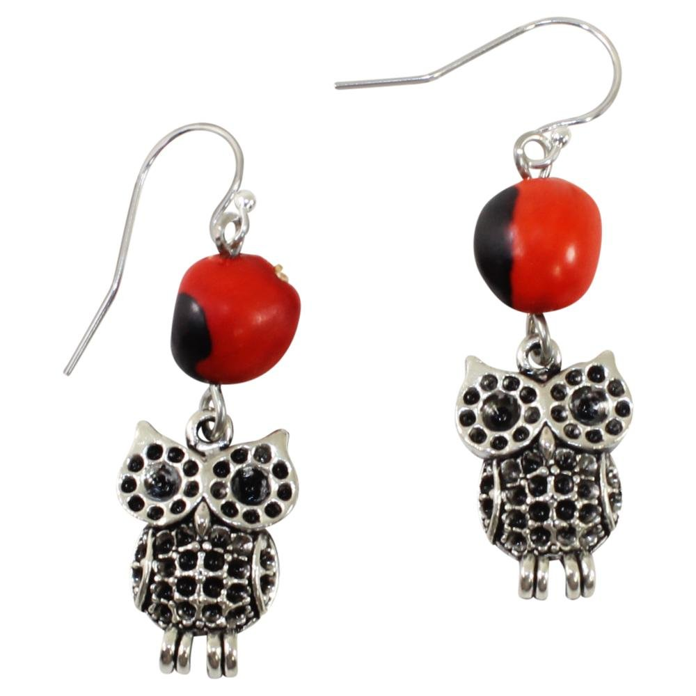 Intuitive Owl Dangle Silver Earrings w/Meaningful Good Luck Huayruro Seeds - EvelynBrooksDesigns