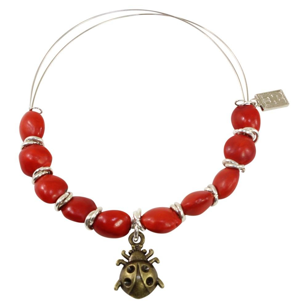 Ladybug Charm Adjustable Bangle/Bracelet for Women w/Huayruro Red Seed - EvelynBrooksDesigns