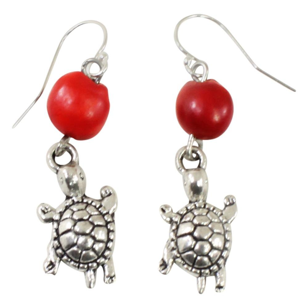 Lasting Memories Turtle Dangle Silver Earrings w/Meaningful Good Luck Huayruro Seeds - EvelynBrooksDesigns