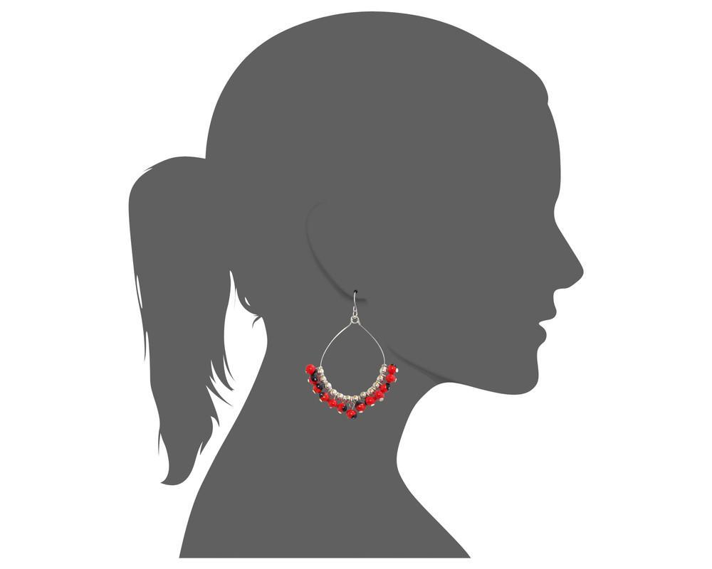 "Long Drop Hoop Sterling Silver Dangle Red & Black Good Luck Earrings 2.2"" - EvelynBrooksDesigns"
