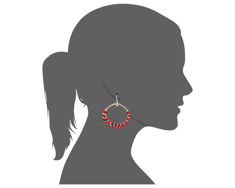 "Long Drop Hoop Sterling Silver Dangle Red & Black Good Luck Earrings 2.5"" - EvelynBrooksDesigns"
