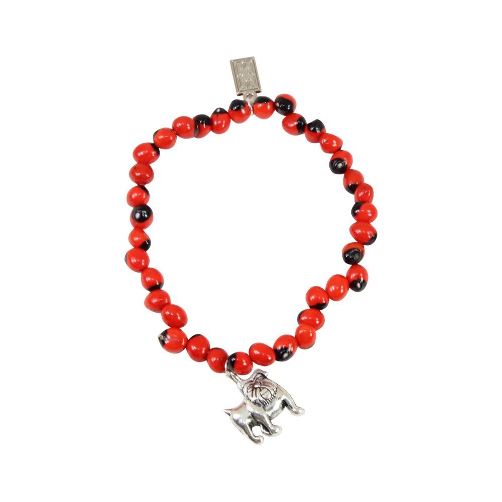 Love English Bulldog Charm Stretchy Bracelet w/Meaningful Good Luck, Prosperity, Love Huayruro Seeds - EvelynBrooksDesigns