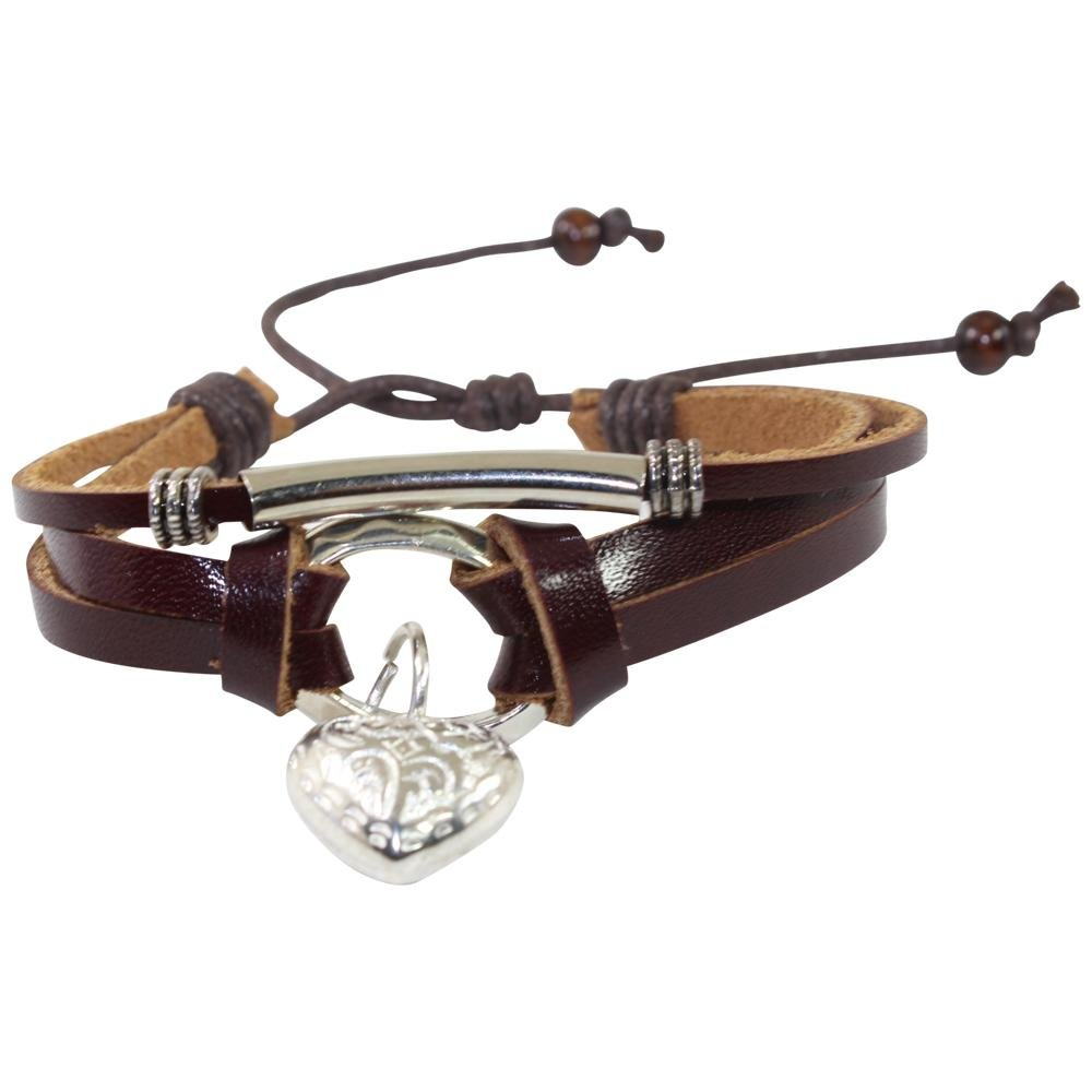 LOVE & Friendship Charm Adjustable Leather Bracelet for Women w/Huayruro Seed - EvelynBrooksDesigns