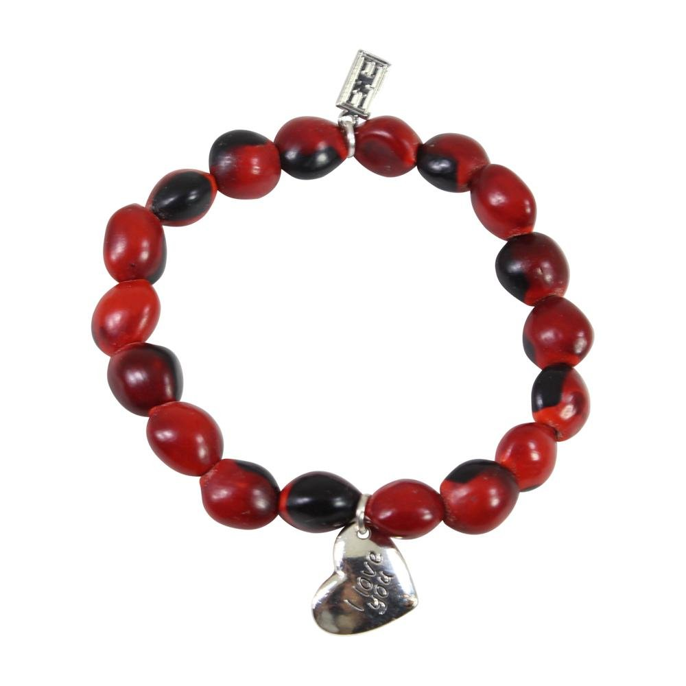 Love & Friendship Charm Stretchy Bracelet w/Meaningful Good Luck, Prosperity, Love Huayruro Seeds - EvelynBrooksDesigns