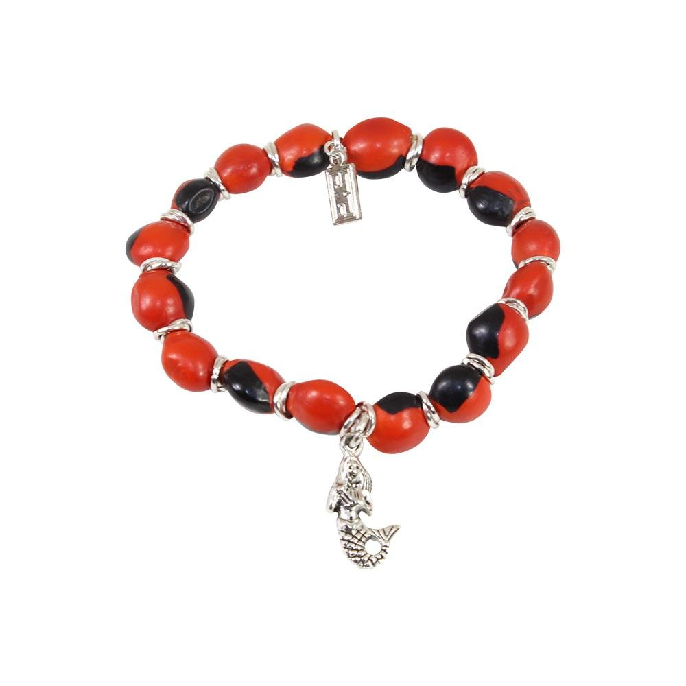 Mermaid/Sea life Charm Stretchy Bracelet w/Meaningful Good Luck, Prosperity, Love Huayruro Seeds - EvelynBrooksDesigns