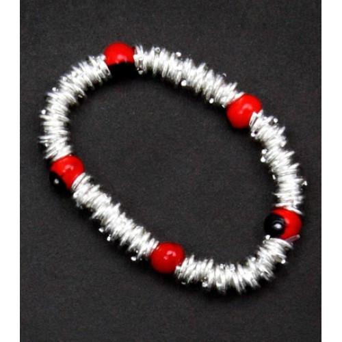 Mommy & Me Stretchy Silver Bracelet w/Meaningful Huayruro Seed Beads - EvelynBrooksDesigns