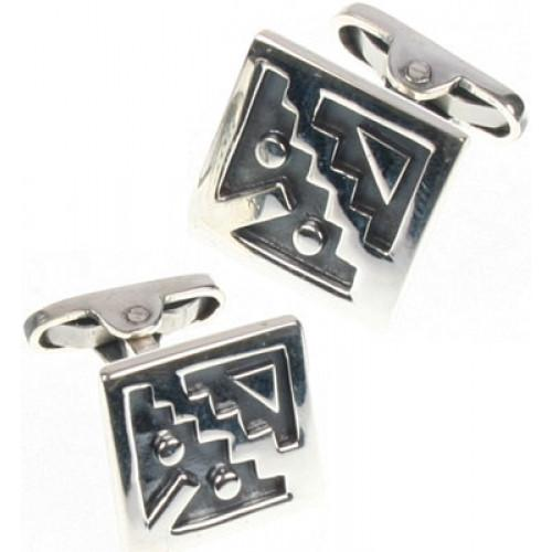 """Moschik"" Peruvian Inspired Geometric Sterling Silver Cufflinks - EvelynBrooksDesigns"