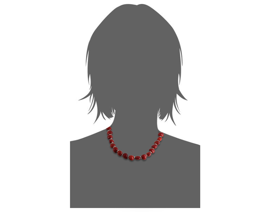 "Classic ""Ecofriendly""  Adjustable Red Necklace for Women w/Meaningful Seed Beads 18""-20"""