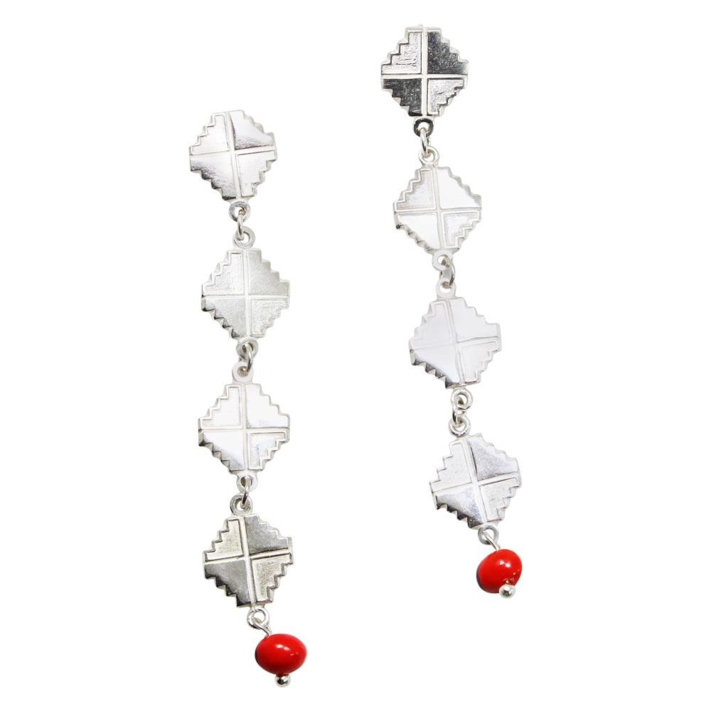 "Peruvian Inspired Jewelry Design Inka Cross ""Chakana"" Long Drop Dangle Earrings 2.2"" - EvelynBrooksDesigns"