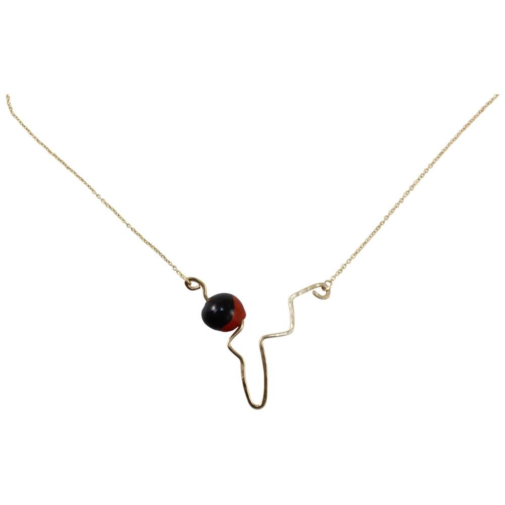 "Peruvian Inspired Minimal Pendant for Women w/Meaningful Peruvian Huayruro Seed Bead 16""-18"" - EvelynBrooksDesigns"