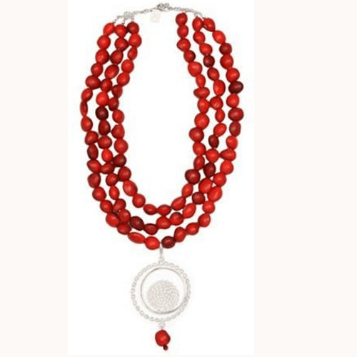 "Peruvian Inspired Multiple Strand ""Nazca"" Red Necklace for Women w/Meaningful Seed Beads - EvelynBrooksDesigns"