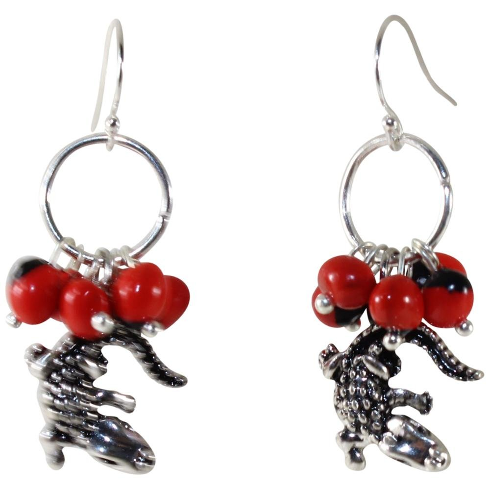 Powerful Alligator Dangle Silver Earrings w/Meaningful Good Luck Huayruro Seeds - EvelynBrooksDesigns