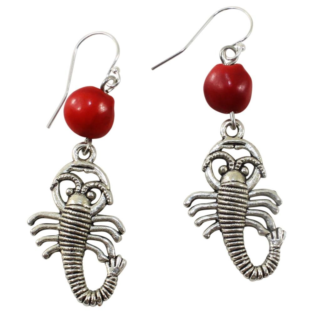 Powerful Scorpio Dangle Silver Earrings w/Meaningful Good Luck Huayruro Seeds - EvelynBrooksDesigns