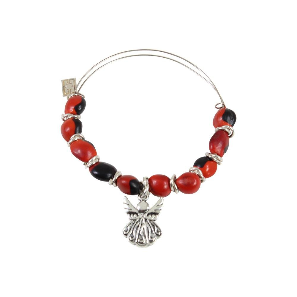 Protection Guardian Angel Charm Bangle/Bracelet for Women w/Huayruro Red Seed Beads - EvelynBrooksDesigns