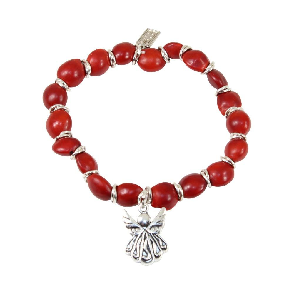 Protection Guardian Angel Charm Stretchy Bracelet w/Meaningful Good Luck Huayruro Seeds - EvelynBrooksDesigns
