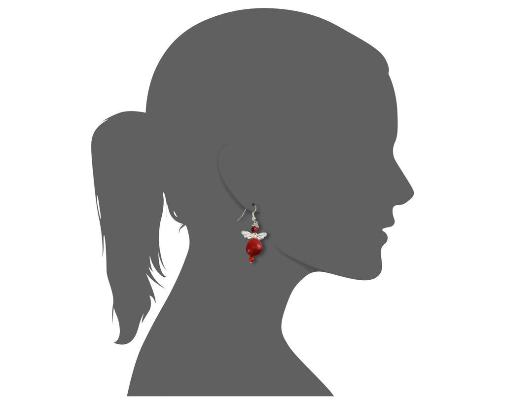 Protection Guardian Angel Silver Dangle Earrings w/Meaningful Good Luck Huayruro Seeds - EvelynBrooksDesigns