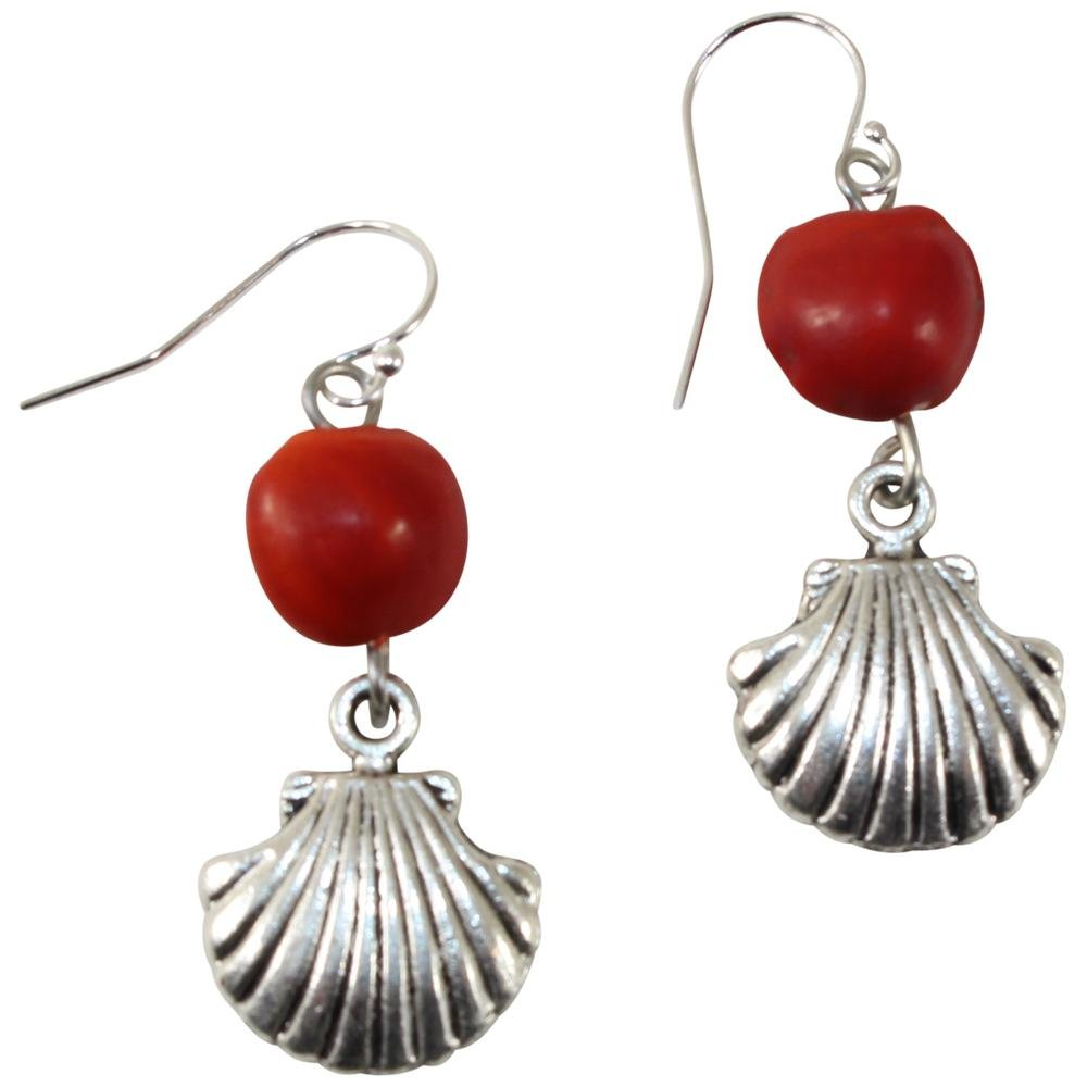 Protective Sealife Shell Dangle Silver Earrings w/Meaningful Good Luck Huayruro Seeds - EvelynBrooksDesigns