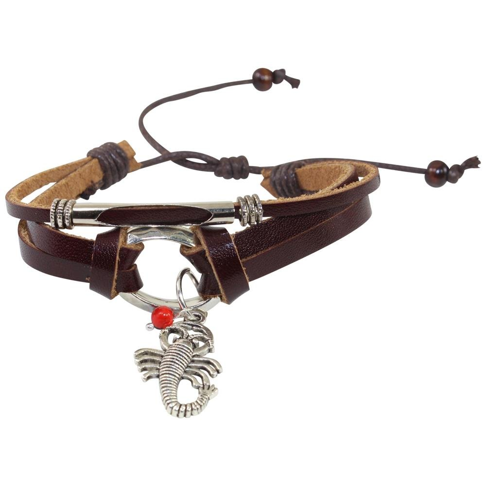 Scorpio Charm Adjustable Leather Bracelet for Women w/Huayruro Seed - EvelynBrooksDesigns