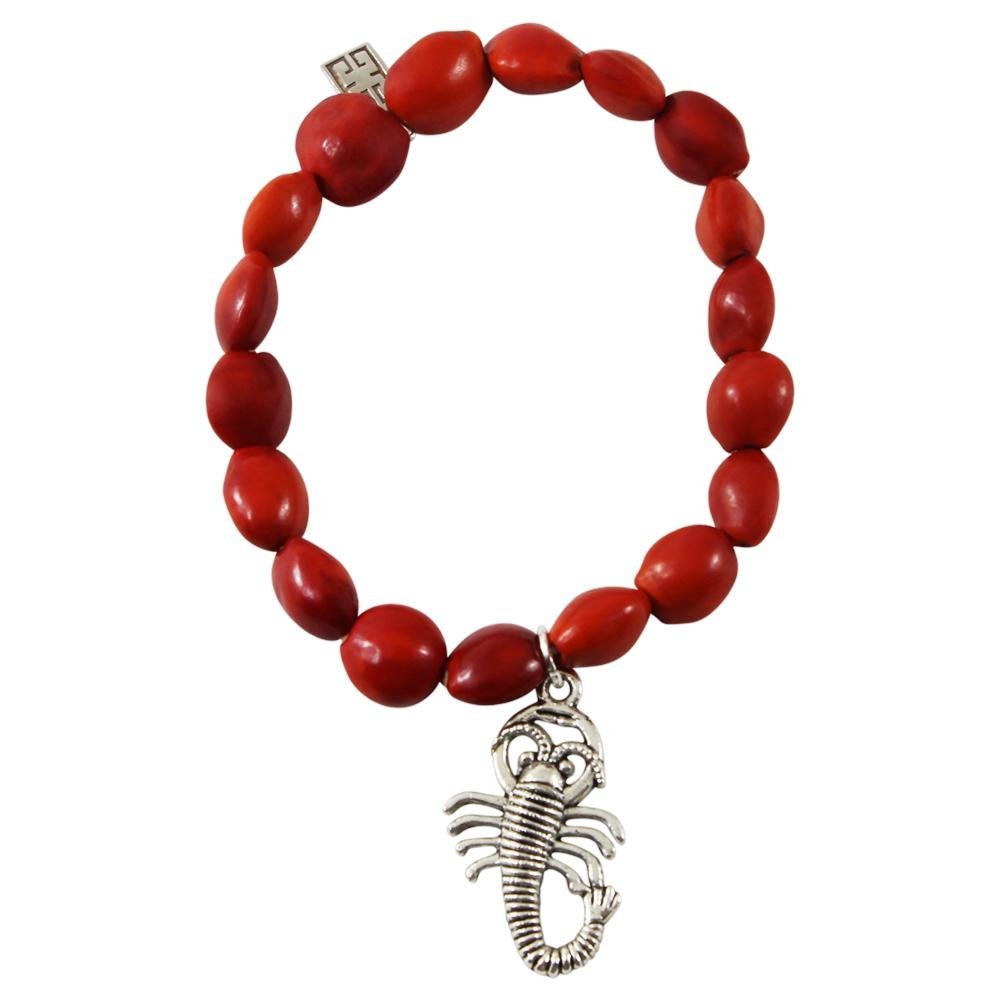 Scorpio Charm Stretchy Bracelet w/Meaningful Good Luck, Prosperity, Love Huayruro Seeds - EvelynBrooksDesigns
