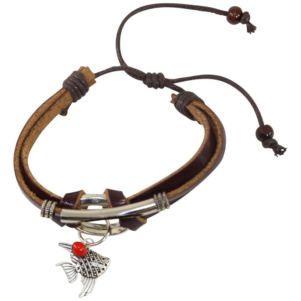 Sea Life Charm Adjustable Leather Bracelet for Women w/Huayruro Seed - EvelynBrooksDesigns