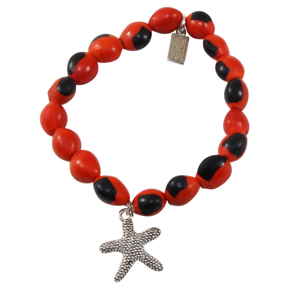 Sealife Charm Stretchy Bracelet w/Meaningful Good Luck, Prosperity, Love Huayruro Seeds - EvelynBrooksDesigns