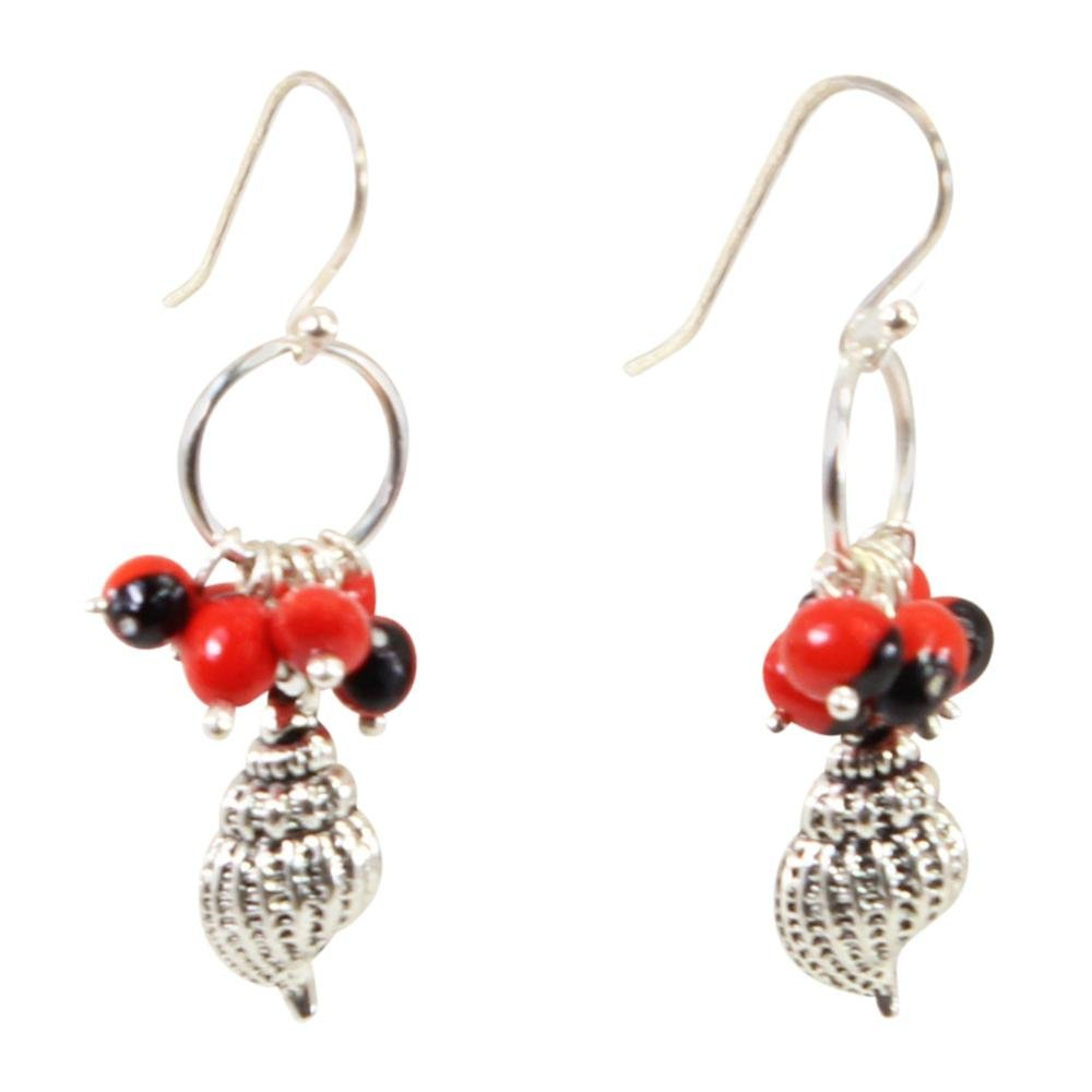 Sealife Seashell Dangle Silver Earrings w/Meaningful Good Luck Huayruro Seeds - EvelynBrooksDesigns