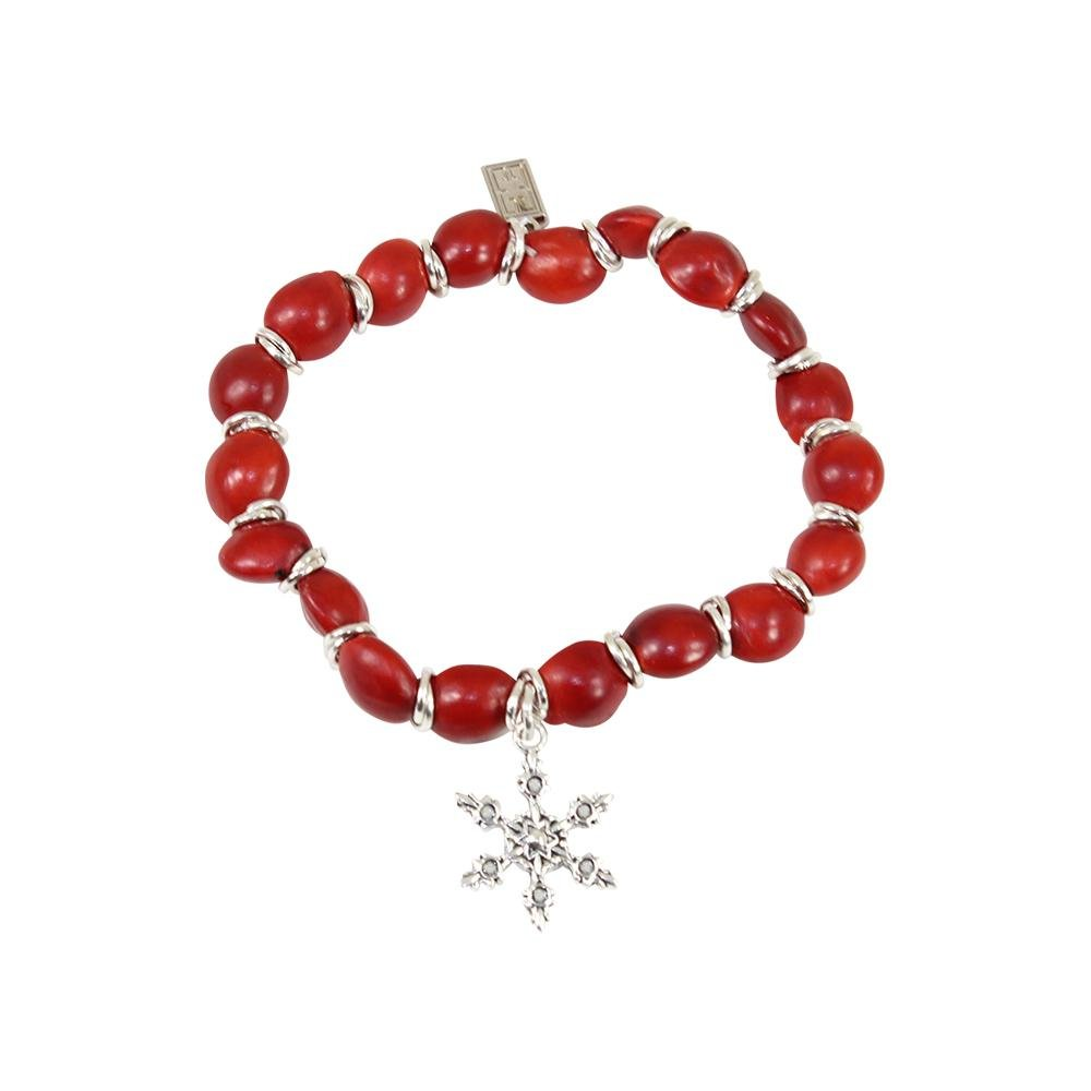 Snowflake Christmas Holiday Charm Stretchy Bracelet wHuayruro Red Seeds - EvelynBrooksDesigns