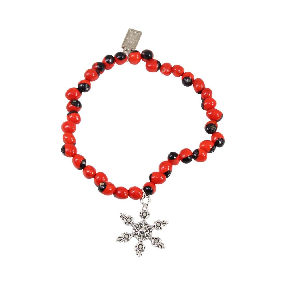 Snowflake Christmas Holiday Charm Stretchy Bracelet w/Meaningful Good Luck Huayruro Seeds - EvelynBrooksDesigns