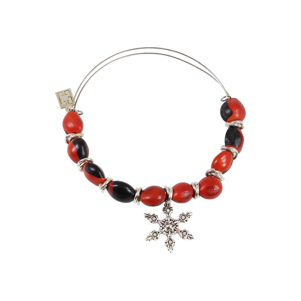 Snowflake Holiday Christmas Charm Adjustable Bangle/Bracelet for Women w/Huayruro Red Seed Beads - EvelynBrooksDesigns