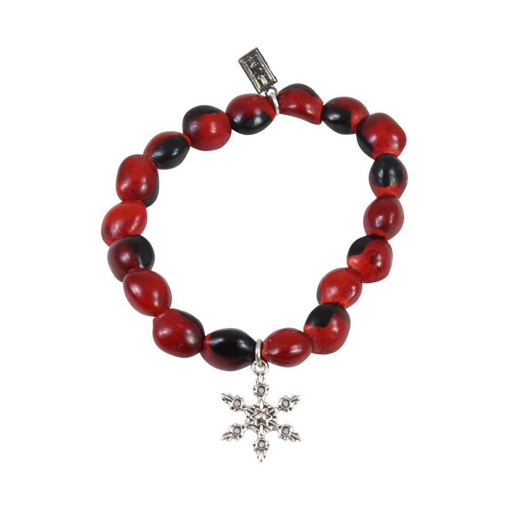 Snowflake Holiday Christmas Charm Stretchy Bracelet w/Meaningful Good Luck Huayruro Seeds - EvelynBrooksDesigns