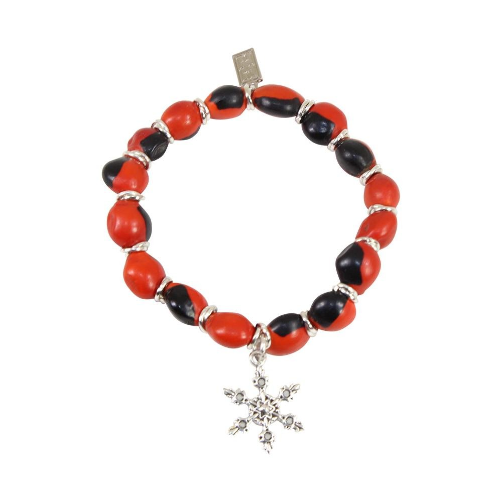 SnowflakHoliday Christmas Charm Stretchy Bracelet w/Meaningful Good Luck Huayruro Seeds - EvelynBrooksDesigns