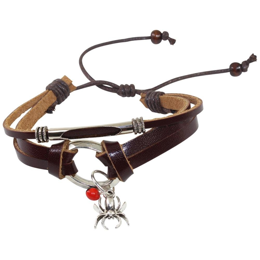 Spider Charm Adjustable Leather Bracelet for Women w/Huayruro Seed - EvelynBrooksDesigns