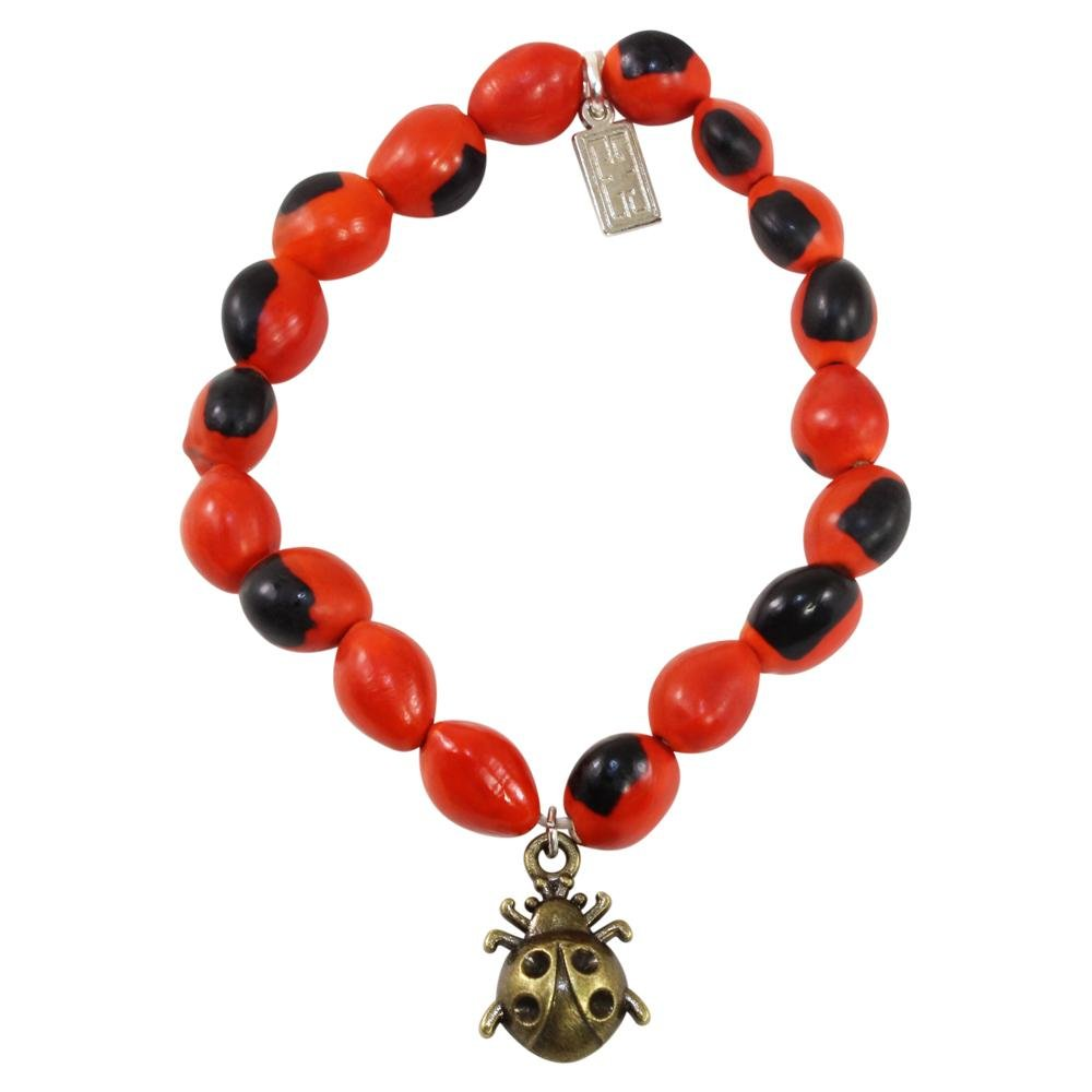 Spider Charm Stretchy Bracelet w/Meaningful Good Luck, Prosperity, Love Huayruro Seeds - EvelynBrooksDesigns