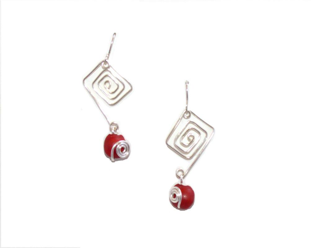 Sterling Silver/ Gold Filled Dangle Long Drop Red & Black Good Luck Earrings - EvelynBrooksDesigns