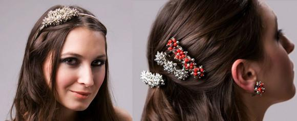 Stylish & Elegant Bridal Hair Clip Accesories w/Meaningful Huayruro Seed Beads - EvelynBrooksDesigns