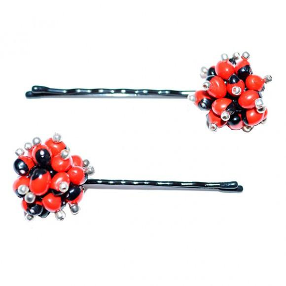 Stylish & Elegant Bridal Hair Pins w/Meaningful Huayruro Seed Beads - EvelynBrooksDesigns
