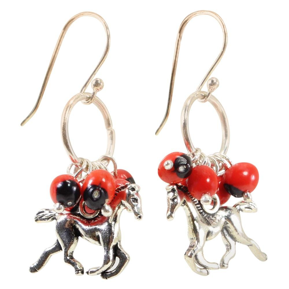 Symbol of Freedom Horse Dangle Silver Earrings w/Meaningful Good Luck Huayruro Seeds - EvelynBrooksDesigns