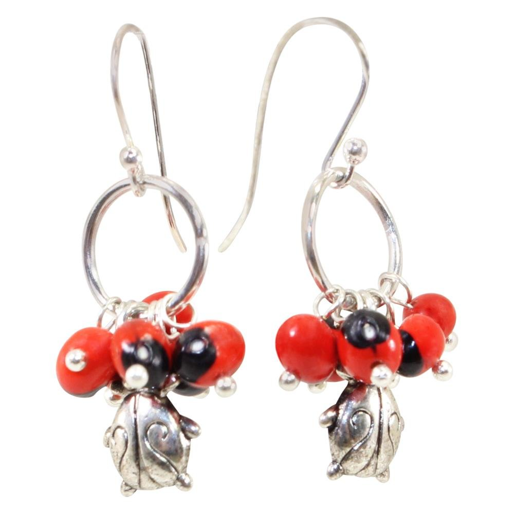 Symbol of Good Luck Ladybug Dangle Silver Earrings w/Meaningful Good Luck Huayruro Seeds - EvelynBrooksDesigns