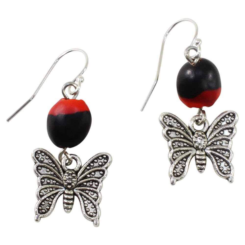 Symbol of Hope Butterfly Dangle Silver Earrings w/Meaningful Good Luck Huayruro Seeds - EvelynBrooksDesigns