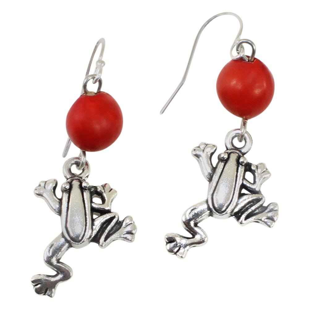 Symbol of Life Frog Dangle Silver Earrings w/Meaningful Good Luck Huayruro Seeds - EvelynBrooksDesigns