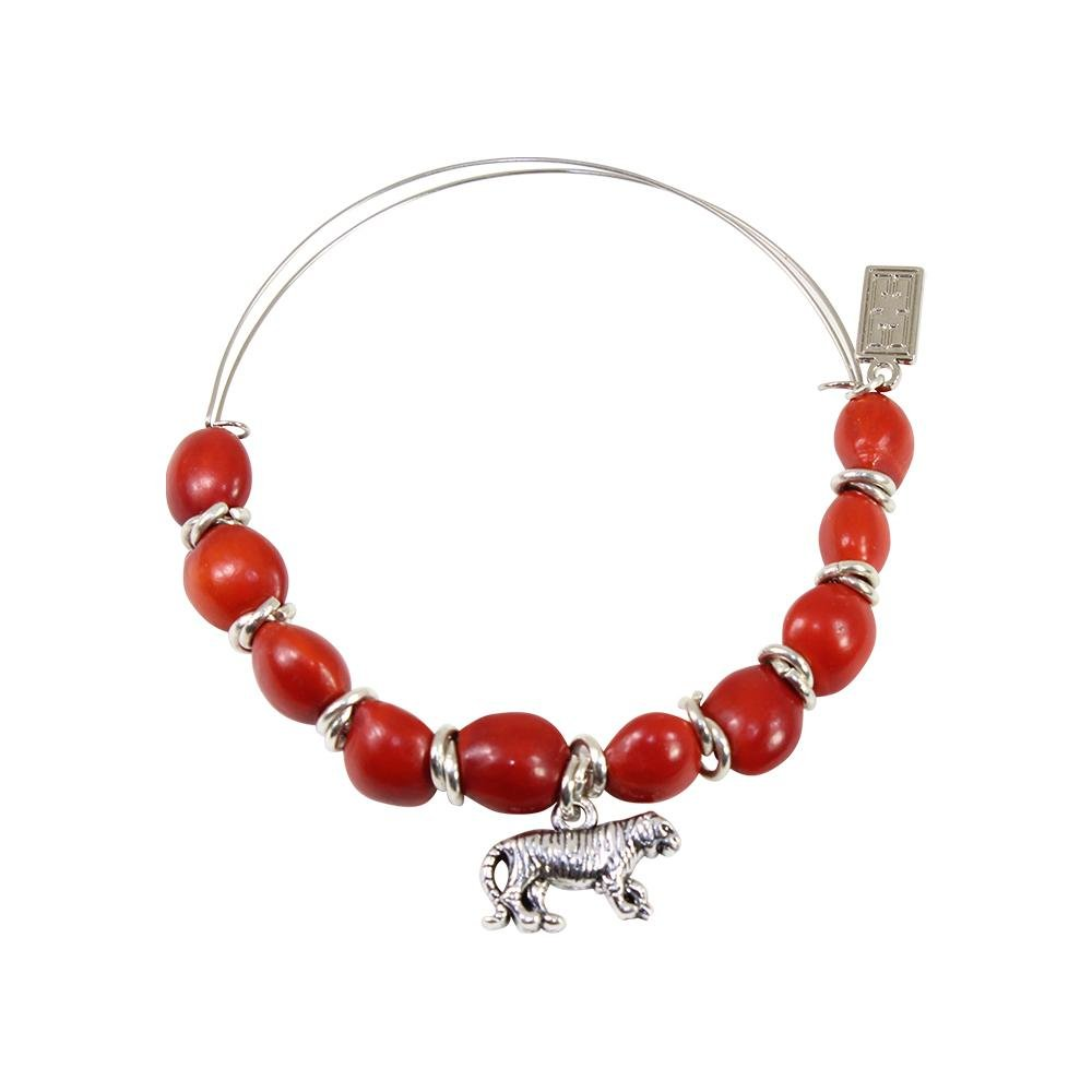 Tiger Charm Adjustable Bangle/Bracelet for Women w/Huayruro Red Seed Beads - EvelynBrooksDesigns