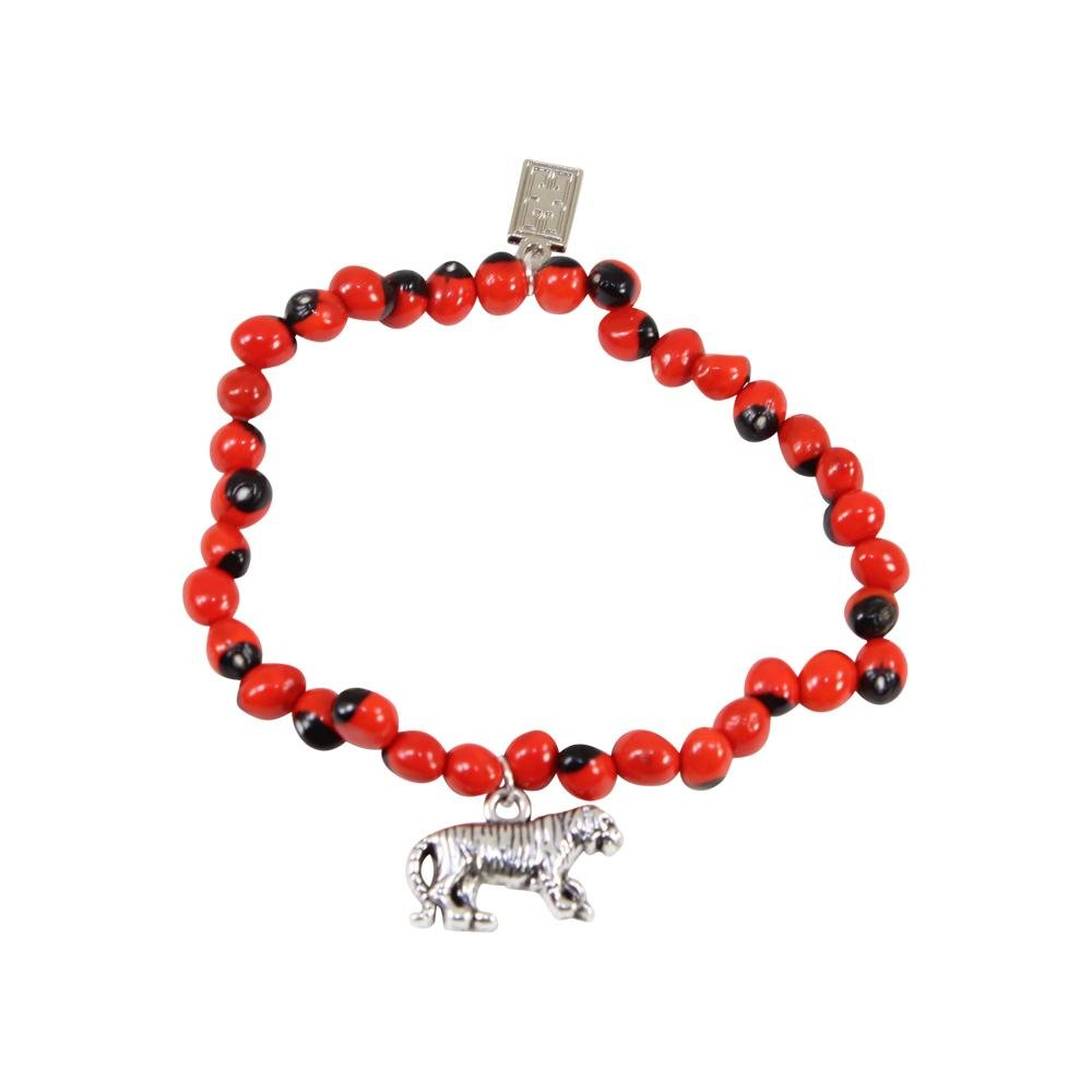 Tiger/Puma Charm Stretchy Bracelet w/Meaningful Good Luck, Prosperity, Love Huayruro Seeds - EvelynBrooksDesigns