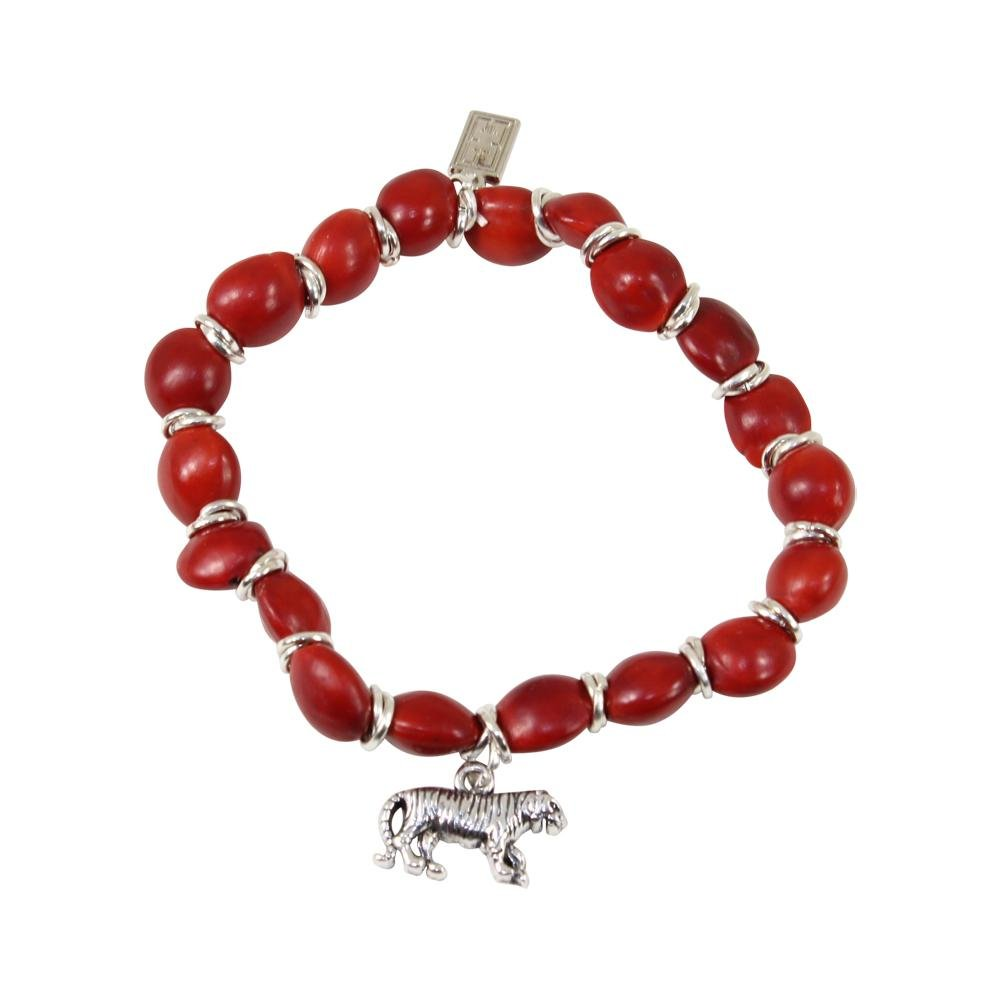 Tiger/Puma Charm Women Stretchy Bracelet w/meaningful Huayruro Red Seeds - EvelynBrooksDesigns