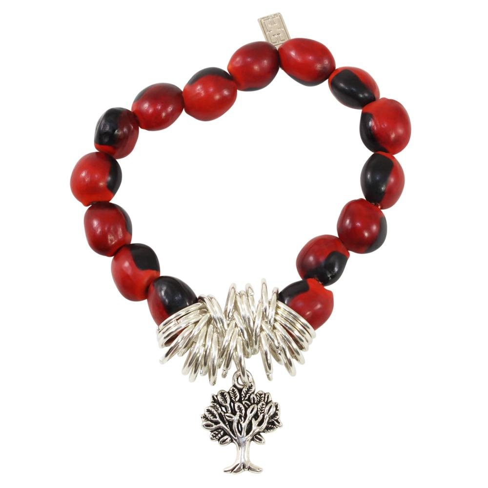 Tree of Life Charm Stretchy Bracelet w/Meaningful Good Luck, Prosperity, Love Huayruro Seeds - EvelynBrooksDesigns