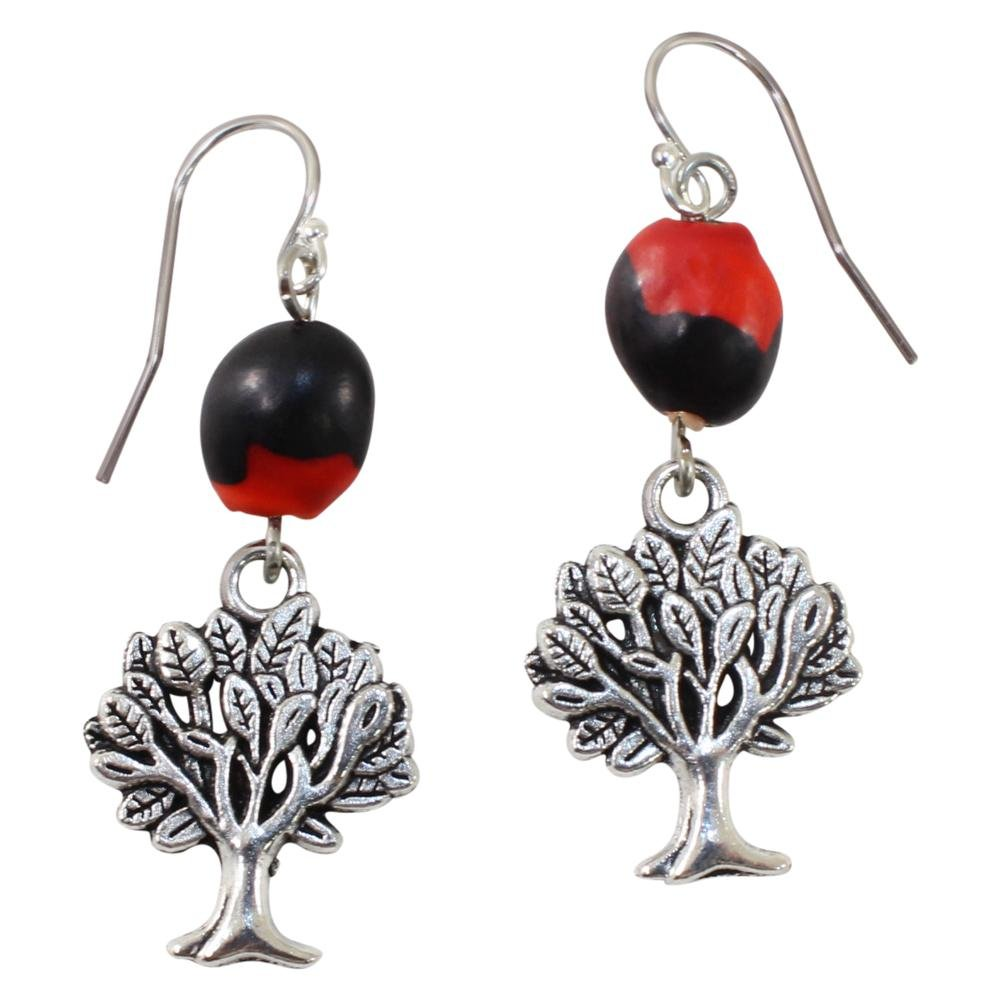Tree of Life Dangle Silver Earrings w/Meaningful Good Luck Huayruro Seeds - EvelynBrooksDesigns