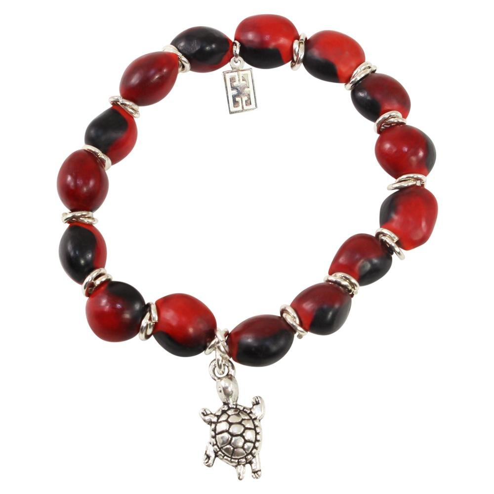 Turtle Charm Stretchy Bracelet w/Meaningful Good Luck, Prosperity, Love Huayruro Seeds - EvelynBrooksDesigns