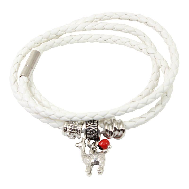 White Leather Adjustable Meaningful Good Luck Charm Bracelet - EvelynBrooksDesigns